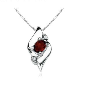 NEW Silver Oval Garnet & Diamond Pendant